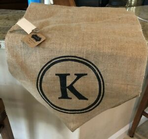 Mud Pie Burlap Table Runner Initial Monogram K New with Tag
