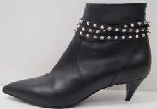 SAINT LAURENT PARIS Womens Black Leather Silver Cat Studded Ankle Boots EU39 UK6