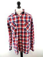 TOMMY HILFIGER Mens Shirt L Large Red Blue White Cotton