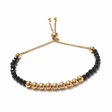 925 Sterling Silver Yellow Gold Plated Bolo Strand Bracelet for Women Adjustable