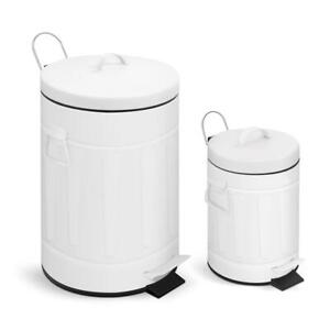 Old Time New York Style Step on Trash Can Set 3.2 Gal 0.8 Gal Round White Metal