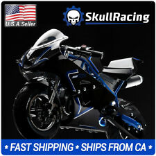 SkullRacing Gas Powered Mini Pocket Bike Motorcycle 50Rr (Blue)