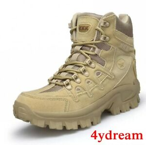 Mens Lace up Hiking Tactical Military High Top Army Ankle Boots Combat Shoes NEW