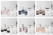 4 Piece Ribbed White Ceramic Bathroom Accessory Set w/Toothbrush Holder,Tumbler,