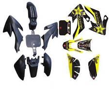 BLACK BODY PLASTIC FENDERS & DECALS STICKER KIT FOR XR50 CRF50 SDG SSR M DE60+