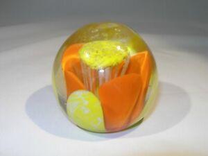 """Vintage Handblown Very Bright Yellow & Orange Glass Paperweight...21/2"""" x 2 5/8"""""""