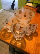 New listing Vintage Floral Golden Leaf Ice Bucket Set Of 5