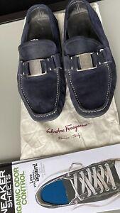 Salvatore Ferragamo Blue Suede Loafers UK8 + 2x FREE Sneaker Sheets