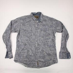 Wrangler Retro Shirt Adult Large Gray Paisley Western Long Sleeve Button Up Mens