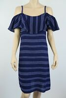 Crossroads Ladies Off Shoulder Ruffle Dress sizes 10 14 18 20 22 Colour Navy