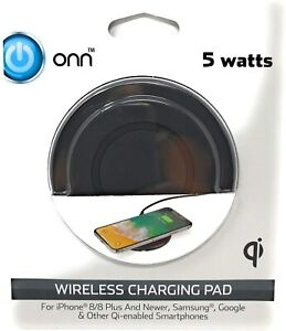 ONN Wireless Charging Pad 5 watts iPhone 8 8 plus Samsung Google and Qi-enabled