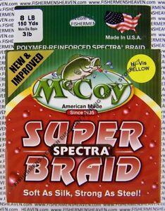 McCoy Fishing Line Braid Hi Vis Yellow Spectra 150yd Spool 8LB Test 3LB Diameter