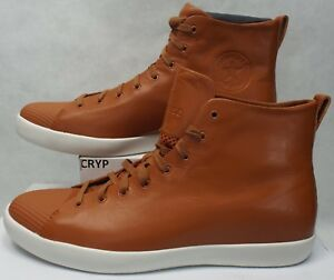 New Mens 10 Converse All Star Modern Hi Brown White Leather 156587C $140
