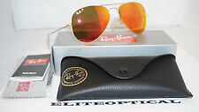 RAY BAN New Sunglasses AVIATOR RAY BAN Gold/Mirror Red Polarized RB3025 112/4D