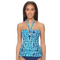 Chaps Women's Size 6 Aqua Blue Print Halter Strapless Tankini Bikini Swim Top