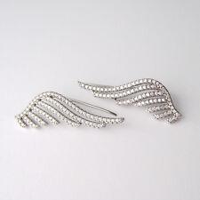 Boucles d'oreilles montantes ear cuff ailes d'ange zirconium CZ argent 925 BO234