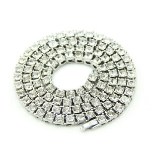 Silver Tennis Iced Out Chain Necklace