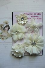 HANDMADE 5 Flower Mix IVORY CREAM Lace Organza 35,45,50,55 & 70mm NCrafts HM1-6