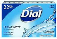 22 Bars Dial Antibacterial Deodorant Soap SPRING WATER Individually Wrap 4 oz