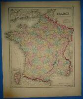 Vintage 1857 FRANCE MAP Old Antique Original Atlas Map