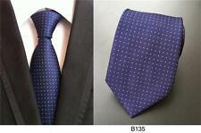 Blue Tie and White Patterned Handmade 100% Silk Wedding Mens Formal Necktie
