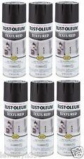 NEW Case of 6 Black Textured Spray Paint Rustoleum In/Outdoor