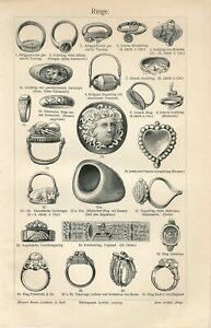 1895 ANCIENT JEWELRY GOLD GEM RINGS Antique Engraving Print