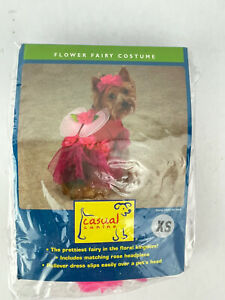 Dog Costume Flower Fairy Size X Small Casual Canine Pink Rose Headpiece & Wings