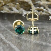 14K Yellow Gold Over 2 Ct Round Cut Emerald Solitaire Stud Earrings Screw Back