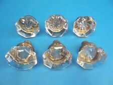 Antique Lot Used Metal Brass Clear Glass Decorative Set of 6 Doorknobs Knobs