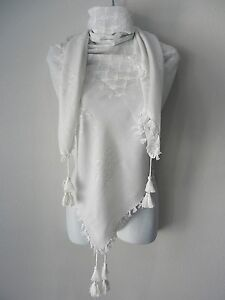 Unisex Solid White Scarf Head Shemagh Neck Wrap Authentic Cotton Face Cover Army