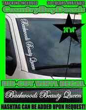 Backwoods Beauty Queen VERTICAL Windshield Vinyl Decal Sticker Truck Car Girl GT