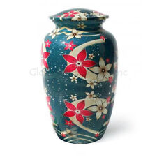 Cremation Urns Blue Floral Aluminium Large for Human Ashes USA