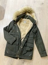Zara Padded Coat Parka With Hood Size Xs Winter Women Dark Green Military Jacket