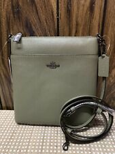 New COACH Messenger Crossbody in Crossgrain Leather Light Fern 41320
