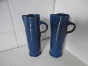Pair Vintage BRANNAM Blue Glazed Pottery Jugs NORTH DEVON Studio Ware