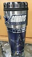 Dallas Cowboys Stainless Steel Tumbler With Pewter Embossed Emblem 16 oz