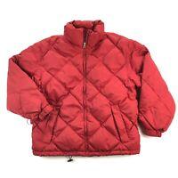 Eddie Bauer Vintage Womens Medium Red Goose Down Quilted Puffer Jacket Full Zip