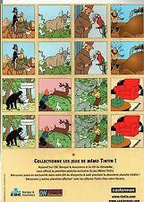 TINTIN document. Publicité pour le site tintin.com - dos : Mémo Tintin