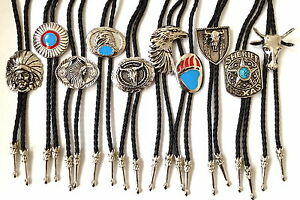 Bolo bootlace tie Country & Western Cowboy Line Dancing black cord fancy dress