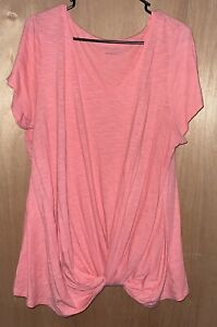 Maurices~ Knot Hem Tee T shirt Heathered Pink Womens Size 1 Plus V Neck