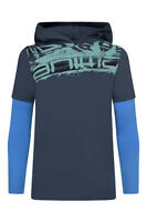 ANIMAL BOYS T SHIRT.HOLDER LONG SLEEVED COTTON HOODED NAVY BLUE TOP 5W/629/L52