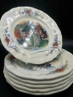 """6 Vintage Obernai Sarreguemines 8"""" Lunch Plates France  French Country Scenes"""