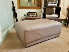 "Vitra ""PLACE"" Grey Leather Large Footstool Luxury Italian Made Ottoman"