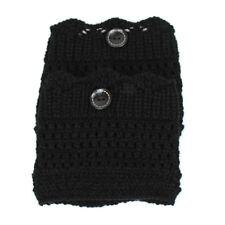 Women Lady Winter Leg Warmers Crochet knitted Socks Fur Trim Leg Fur Boots