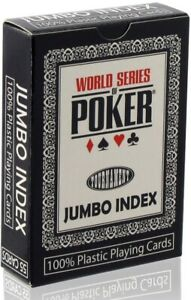 Mazzo Carte Poker Texas Hold'em WSOP Plastico 2 Jumbo Index Nero 300571 Nuove