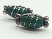 Vintage Sterling Silver Earrings 925 Mexico Screw Back Green Stone Onyx