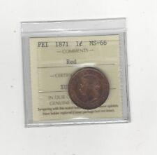 1871  ICCS Graded Prince Edward Island Large ¢1 One Cent, **MS-66**