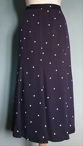 Cotswold Collections Fully Lined Navy Polka Dot A Line Midi Skirt Size 16 New