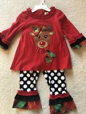 NWT Girls Size 24 months Rare Editions Reindeer Christmas Holiday outfit set